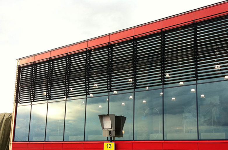 Wing louvers in Oulu Airport.