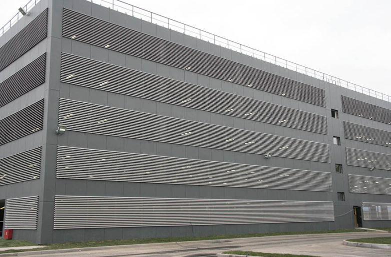 AluClik louver is sustainable solution at parking garage.