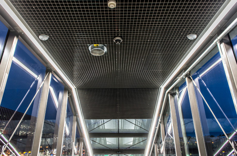 Suspended grilles ceiling in Tikkurila railway station.