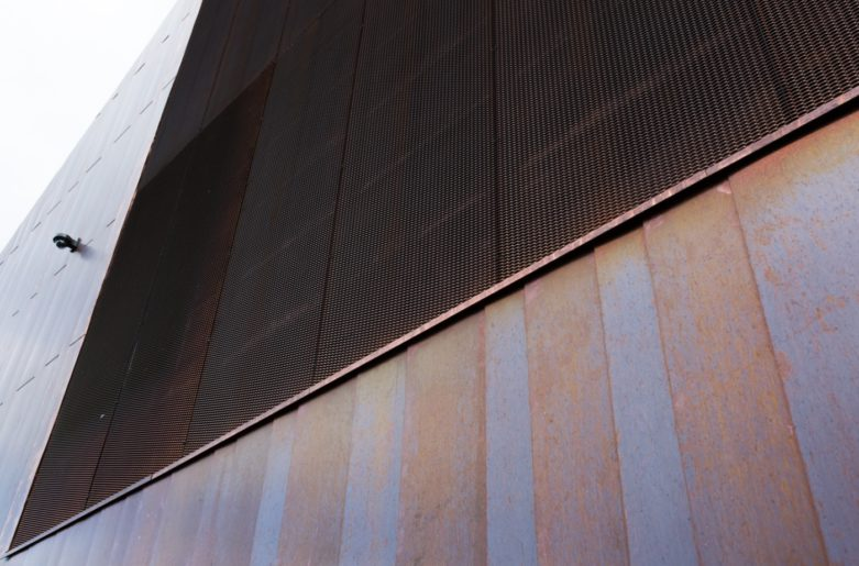 Distinguished and traditional copper louver is well suited for the church building, Suvela Chappel, Espoo.