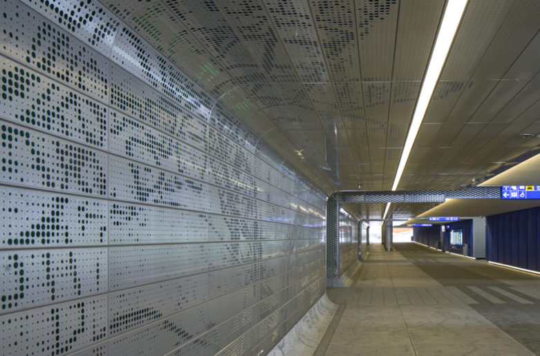 Perforated tiles in Tikkurila railway station, Vantaa.